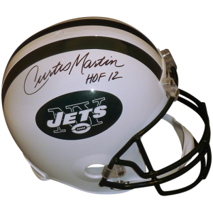 "Curtis Martin Autographed New York Jets Deluxe Full-Size Replica Helmet w/ ""HOF 12"""
