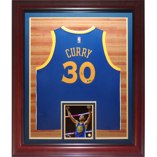 Stephen Curry Autographed Golden State Warriors (Blue #30) Deluxe Framed Swingman Jersey - Fanatics