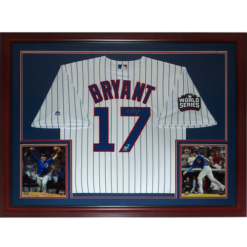 sports shoes 77d12 49944 Kris Bryant Autographed Chicago Cubs (Pinstripe #17 2016 World Series)  Deluxe Framed Jersey - Fanatics
