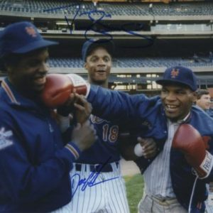 Dwight Doc Gooden And Darryl Strawberry Autographed New York Mets (Mike Tyson Punching) 8x10 Photo - MLB