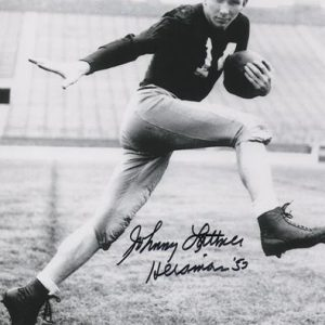 "Johnny Lattner Autographed Notre Dame Fighting Irish (BW) 8x10 Photo w/ ""Heisman 53"""