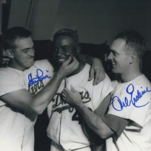 Clem Labine And Carl Erskine Autographed Brooklyn Dodgers (With Jackie Robinson) 8x10 Photo