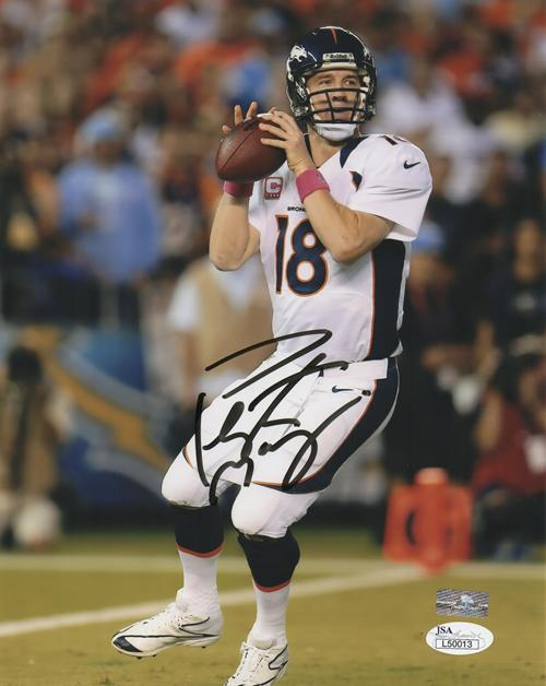promo code 56a31 8dca7 Peyton Manning Autographed Denver Broncos (White Jersey) 8x10 Photo - JSA