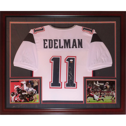 newest collection 20e12 46330 Julian Edelman Autographed New England Patriots (White #11) Deluxe Framed  Jersey - JSA