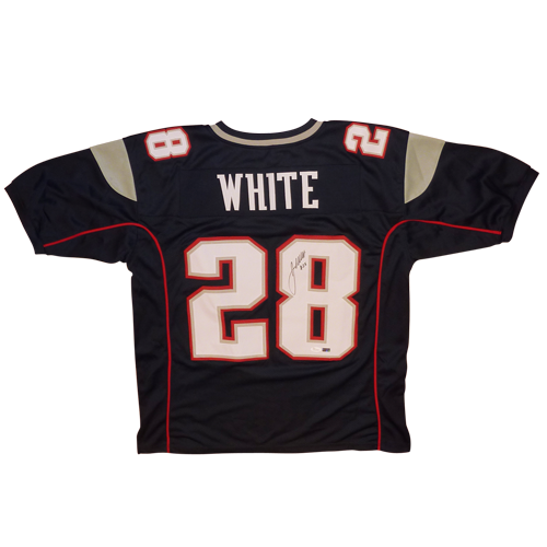 James White Autographed New England Patriots (Blue #28) Custom Jersey - JSA