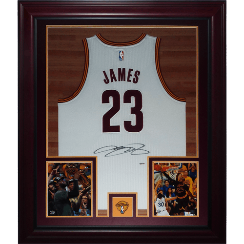 best website ee5bc 53a46 LeBron James Autographed Cleveland Cavaliers (White #23 NBA Finals Patch)  Deluxe Framed Jersey - Upper Deck UDA