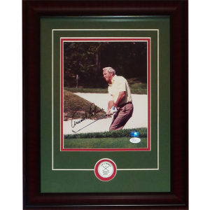 Arnold Palmer Autographed Golf 8x10 Photo Deluxe Framed with Arnie's Army Pin - JSA