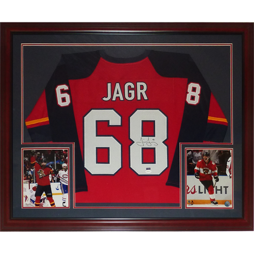 cheap for discount 75fd7 d5886 Jaromir Jagr Autographed Florida Panthers (Red #68) Deluxe Framed Jersey -  TSE