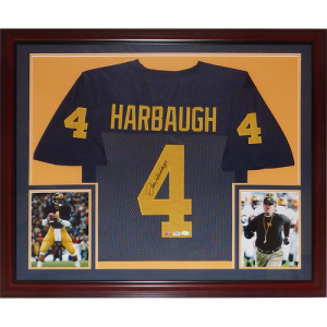 Jim Harbaugh Autographed Michigan Wolverines (Blue #4) Deluxe Framed Jersey