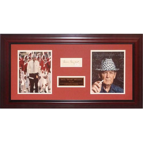 "Paul ""Bear"" Bryant Autographed Alabama Crimson Tide Deluxe Framed Tribute Piece - JSA"