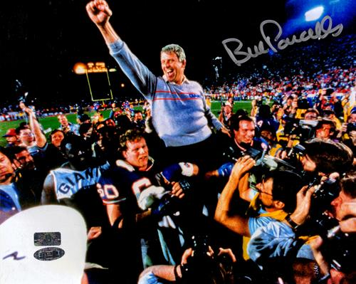Bill Parcells Autographed New York Giants (Carried Off Field) 8x10 Photo