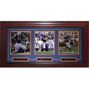 Steve Spurrier, Danny Wuerffel And Tim Tebow Autographed Florida Gators Heisman Deluxe Framed Triple 8x10 Piece