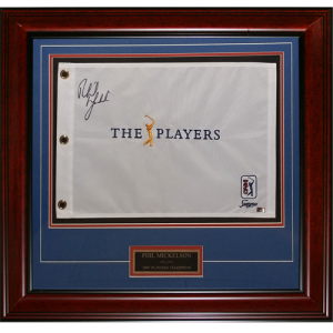 Phil Mickelson Autographed TPC The Players Championship Deluxe Framed Golf Pin Flag with Engraving