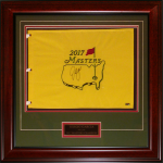 Sergio Garcia Autographed 2017 Masters Deluxe Framed Pin Flag with Engraving – JSA