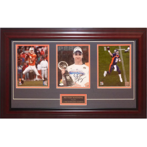 Peyton Manning Autographed Tennessee Vols / Indianapolis Colts / Denver Broncos Deluxe Framed Triple 8x10 Piece - JSA