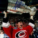 Eric Staal Autographed Carolina Hurricanes (Stanley Cup Trophy) 8×10 Photo