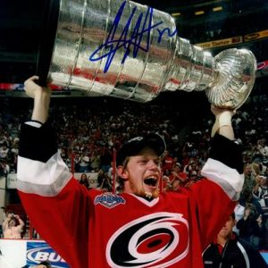 Eric Staal Autographed Carolina Hurricanes (Stanley Cup Trophy) 8x10 Photo
