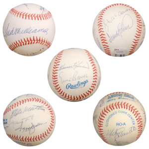500 Home Run Club Autographed OAL Baseball - 9 Signatures , Ted Williams - Full JSA Letter
