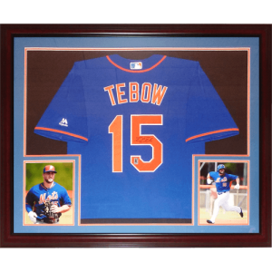 Tim Tebow Autographed New York Mets (Blue #15) Deluxe Framed Majestic Jersey - Tebow Holo
