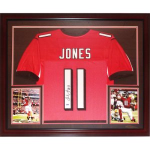 Julio Jones Autographed Atlanta Falcons (Red #11) Deluxe Framed Jersey - JSA