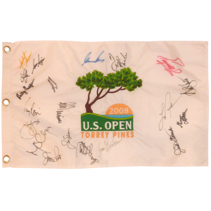 2008 US Open (Torrey Pines) Embroidered Golf Pin Flag Autographed by 16 Former Champions #1