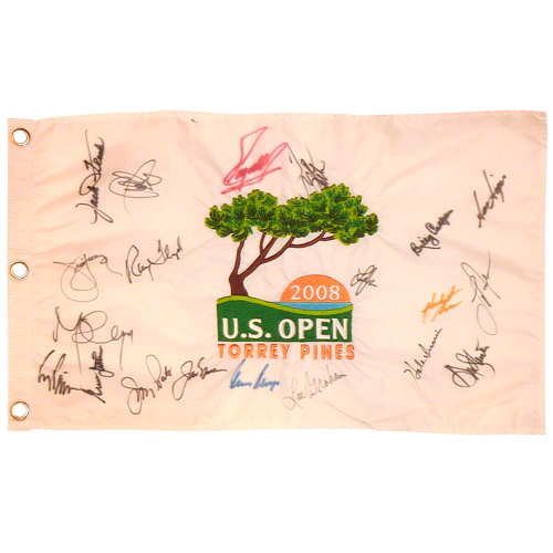 2008 US Open (Torrey Pines) Embroidered Golf Pin Flag Autographed by 15 Former Champions #2