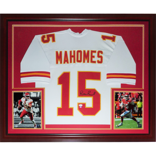 timeless design e7a1d 77ee2 Patrick Mahomes Autographed Kansas City Chiefs (White #15) Deluxe Framed  Jersey - JSA