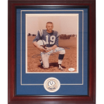 Johnny Unitas Autographed Baltimore Colts 8×10 Photo Deluxe Framed with Patch – JSA
