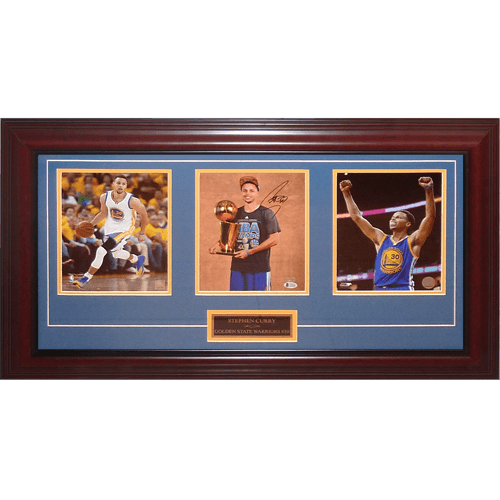 Stephen Curry Autographed Golden State Warriors (NBA Finals) Deluxe Framed Triple 8×10 Photo Piece – Fanatics