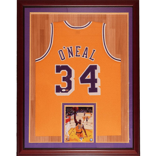 e128ff1d Shaquille O'Neal Autographed Los Angeles Lakers (Yellow #34) Deluxe Framed  Jersey – JSA