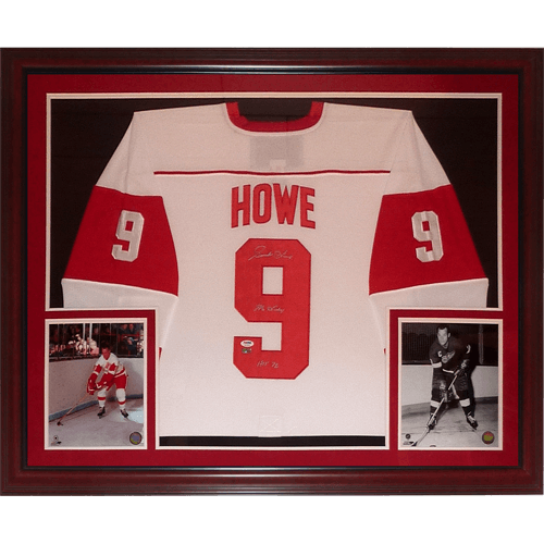 brand new d22c4 aef66 Gordie Howe Autographed Detroit Red Wings (White #9) Deluxe Framed Hockey  Jersey w/ Inscr - PSADNA