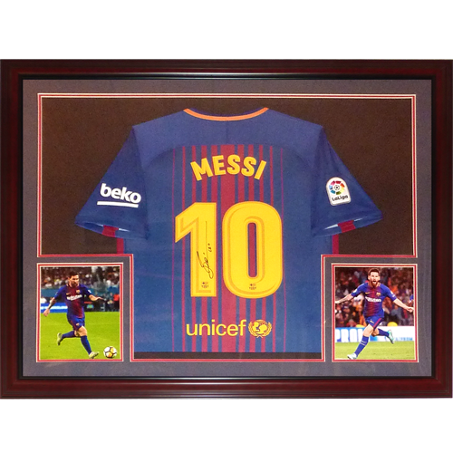 new styles ec7cd 61edc Lionel Messi Autographed FC Barcelona (Home #10) Deluxe Framed Soccer  Jersey - Icons COA