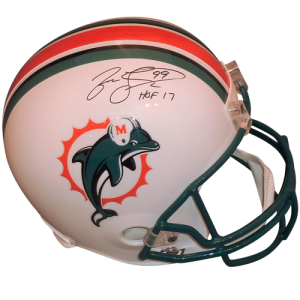"""fe13603bb Jason Taylor Autographed Miami Dolphins (Throwback) Deluxe Full-Size  Replica Helmet w  """"HOF 17"""" – JSA"""