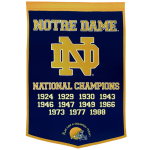 Notre Dame Fighting Irish Football Championship Dynasty Banner – with hanging rod
