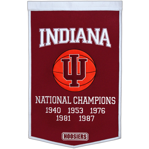 Indiana Hoosiers Basketball Championship Dynasty Banner – with hanging rod