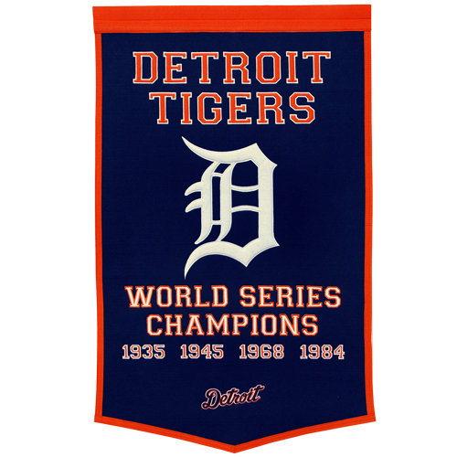 Detroit Tigers World Series Championship Dynasty Banner – with hanging rod