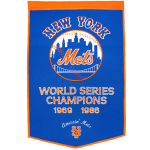New York Mets World Series Championship Dynasty Banner – with hanging rod