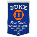 Duke Blue Devils Basketball Championship Dynasty Banner – with hanging rod