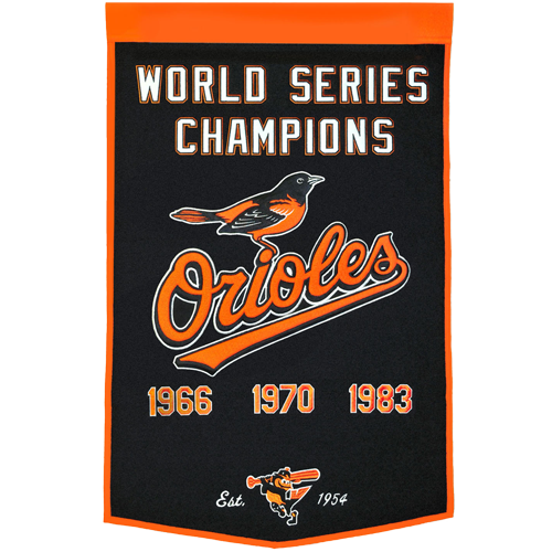 Baltimore Orioles World Series Championship Dynasty Banner – with hanging rod