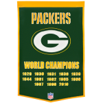 Green Bay Packers Super Bowl Championship Dynasty Banner – with hanging rod