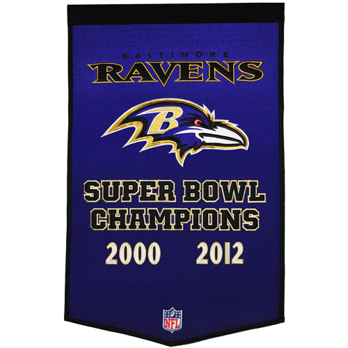Baltimore Ravens Super Bowl Championship Dynasty Banner – with hanging rod