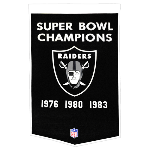 Oakland Raiders Super Bowl Championship Dynasty Banner – with hanging rod