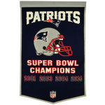 New England Patriots Super Bowl Championship Dynasty Banner – with hanging rod
