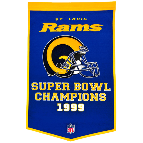 St. Louis Rams Super Bowl Championship Dynasty Banner – with hanging rod