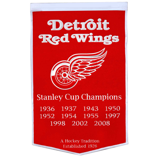 Detroit Red Wings Stanley Cup Championship Dynasty Banner – with hanging rod