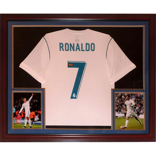7349d95fae3 Cristiano Ronaldo Autographed Real Madrid Soccer (White  7) Deluxe Framed  Jersey – Icons
