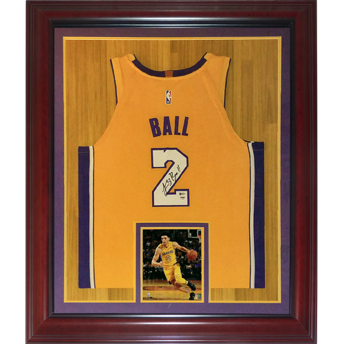 cheap for discount c6cff 42cd6 Lonzo Ball Autographed Los Angeles Lakers (Yellow #2) Deluxe Framed Jersey  - PSA