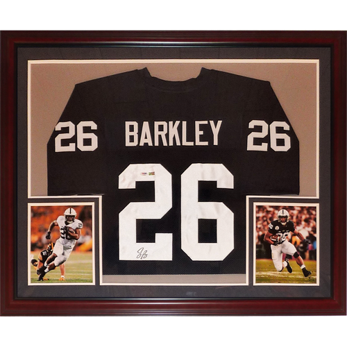 official photos 37267 74c5c Saquon Barkley Autographed Penn State Nittany Lions (Blue #26) Deluxe  Framed Jersey - PSA