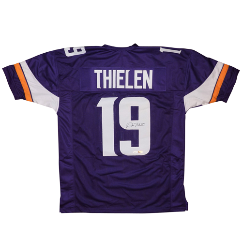 newest f13ae 11ac4 Adam Thielen Autographed Minnesota Vikings (Purple #19) Custom Jersey - TSE