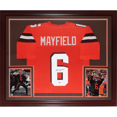 new style 1e54a 3de78 Baker Mayfield Autographed Cleveland Browns (Orange #6) Deluxe Framed  Jersey - Beckett